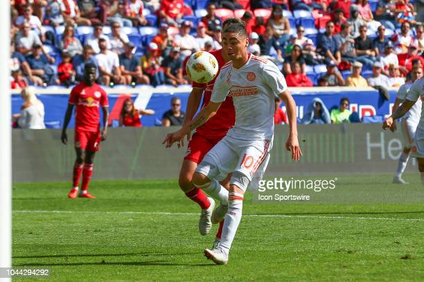 Atlanta United midfielder Miguel Almiron during the first half of the Major League Soccer game between the New York Red Bulls and Atlanta United on...