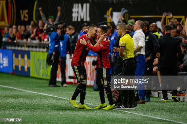 Atlanta United midfielder Miguel Almiron is substituted by Atlanta United midfielder Ezequiel Barco during the MLS Cup Finals match between Atlanta...