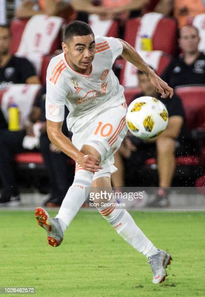 Atlanta United midfielder Miguel Almiron makes a long pass during a MLS match between DC United and Atlanta United FC on September 02 at Audi Field...
