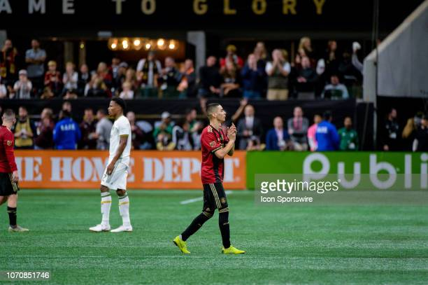 Atlanta United midfielder Miguel Almiron walks off the pitch for possibly the final time in Atlanta during the MLS Cup Finals match between Atlanta...