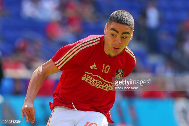 Atlanta United midfielder Miguel Almiron warms up prior to the Major League Soccer game between the New York Red Bulls and Atlanta United on...