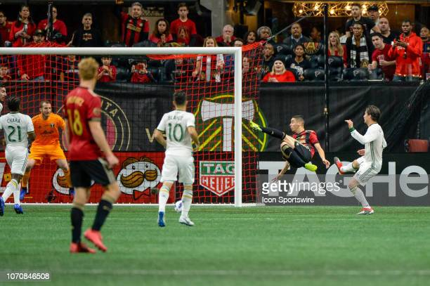 Atlanta United midfielder Miguel Almiron with a bicycle kick nearly scores in the first half of the MLS Cup Finals match between Atlanta United and...
