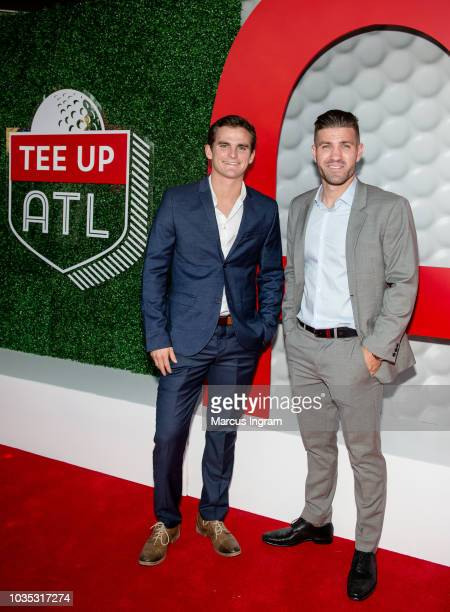 Atlanta United players Mikey Ambrose and Greg Garza attend the Tee Up ATL TOUR Championship party at College Football Hall of Fame on September 17...