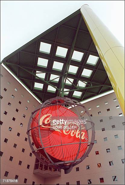 This 12 June file photo shows the CocaCola world headquaters in Atlanta Georgia US authorities 05 July charged three people with trying to sell trade...