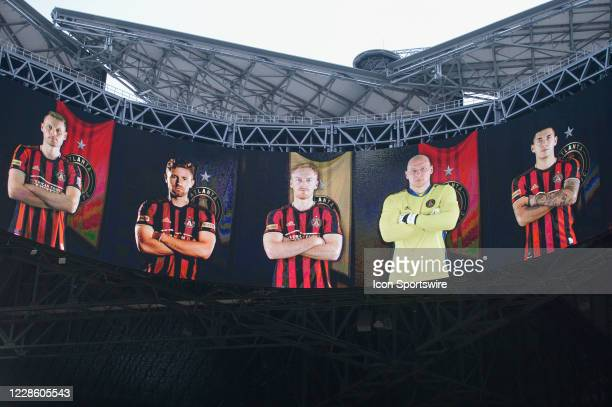 Atlanta United's starting lineup on the video board prior to the start of the match between Inter Miami CF and Atlanta United FC on September 19th...