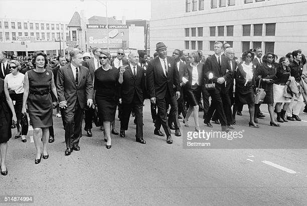 Dignitaries marching in the funeral procession for Dr Martin Luther King Jr Apr 9th are from left Mrs Nelson Rockefeller her husband Gov Nelson...