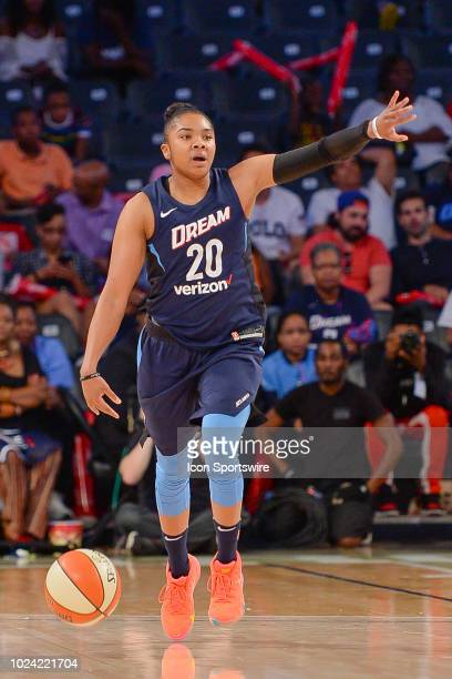 Atlanta's Alex Bentley brings the ball up the court during the WNBA semifinal playoff game between Atlanta and Washington on August 26th 2018 at Hank...