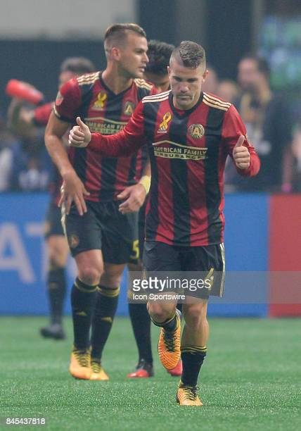 Atlanta's Greg Garza give two thumbs up after scoring a goal during a match between Atlanta United and FC Dallas on September 10 2017 at MercedesBenz...