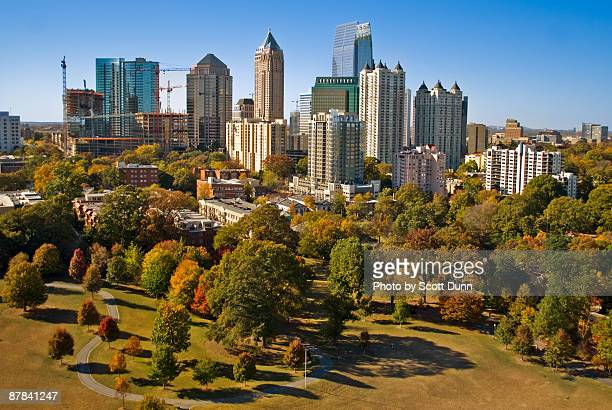 atlanta's growing skyline - atlanta skyline stock pictures, royalty-free photos & images
