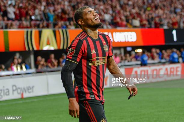 Atlanta's Josef Martinez reacts after missing a shot during the MLS match between Orlando City SC and Atlanta United FC on May 12th 2019 at Mercedes...