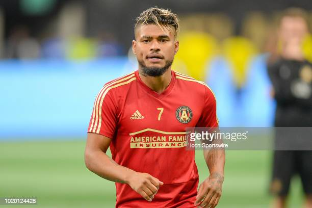 Atlanta's Josef Martinez warms up prior to the start of the match between Atlanta United and Columbus Crew on August 19th 2018 at MercedesBenz...