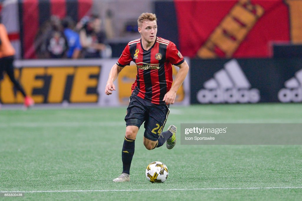 Atlanta's Julian Gressel (24) looks to pass the ball during the match between Atlanta United and the Montreal Impact on September 24, 2017 at Mercedes-Benz Stadium in Atlanta, GA. Atlanta United FC defeated the Montreal Impact by a score of 2 0.