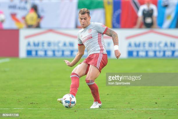 Atlanta's Leandro González Pirez passes the ball up the field during a match between the San Jose Earthquakes and Atlanta United on July 4 2017 at...