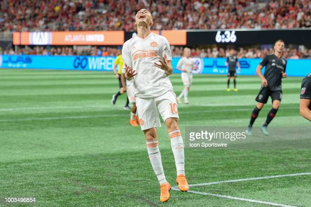 Atlanta's Miguel Almiron expresses his frustration after missing a shot on goal during the match between Atlanta United and DC United on July 21 2018...