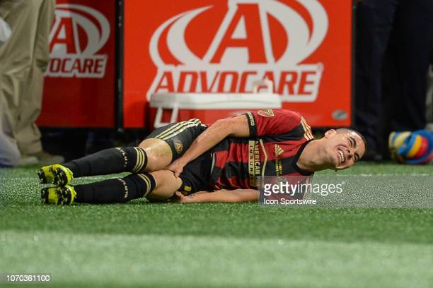 Atlanta's Miguel Almiron grimaces in pain during the MLS Cup between the Portland Timbers and Atlanta United FC on December 8th 2018 at MercedesBenz...