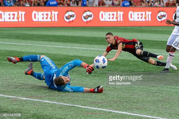 Atlanta's Miguel Almiron has his shot stopped by Toronto goalkeeper Alex Bono during the match between Atlanta United and Toronto FC on August 4th...