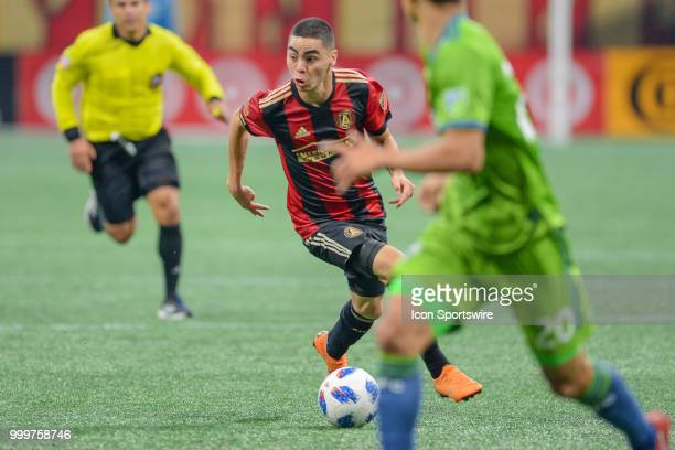 Atlanta's Miguel Almiron looks to break free and make a move during the match between Atlanta and Seattle on July 15th 2018 at MercedesBenz Stadium...