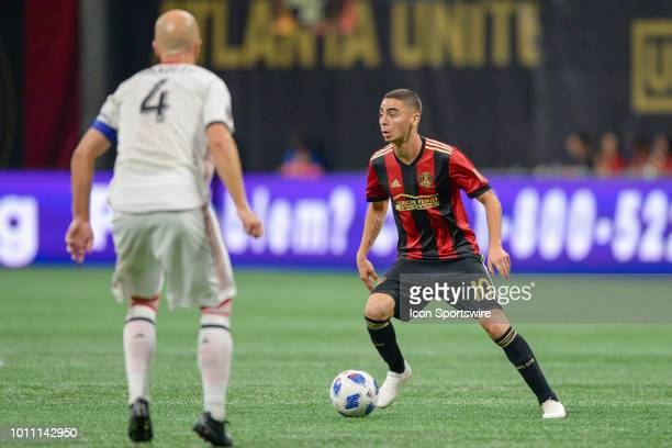 Atlanta's Miguel Almiron looks to pass the ball during the match between Atlanta United and Toronto FC on August 4th 2018 at MercedesBenz Stadium in...