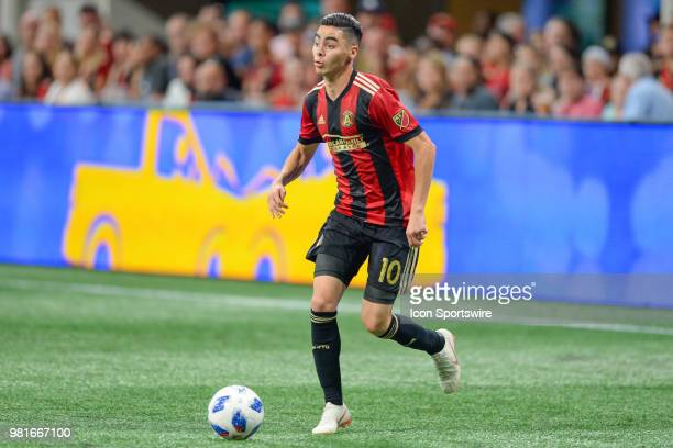 Atlanta's Miguel Almiron looks to pass the ball during the Open Cup match between Atlanta and Chicago on June 20th 2018 at MercedesBenz Stadium in...