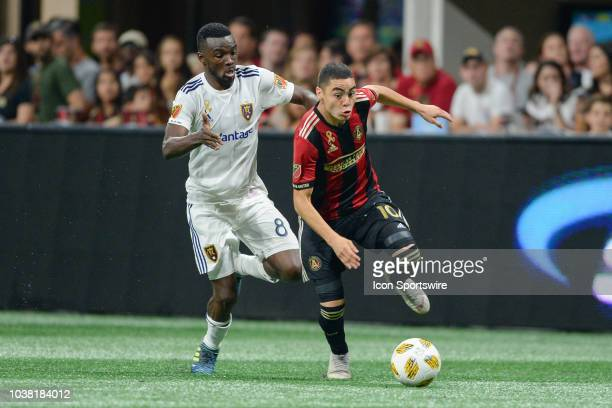 Atlanta's Miguel Almiron moves the ball up the field during the match between Atlanta United and Real Salt Lake on September 22nd 2018 at...