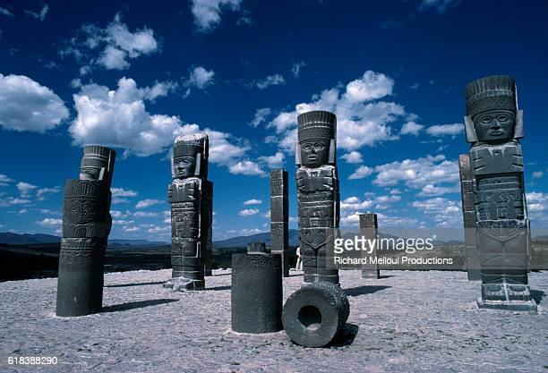 Atlantes Statues Representing Toltec Warriors in Central Mexico
