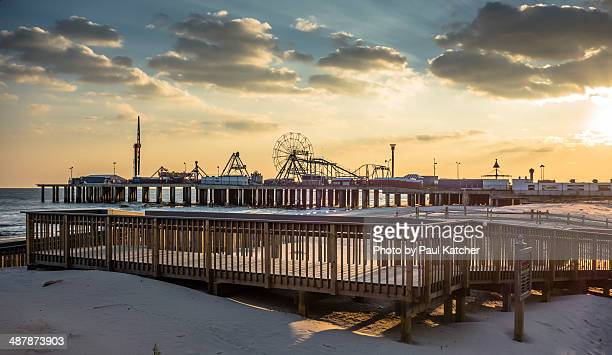 atlantic city boardwalk sunset - atlantic city stock pictures, royalty-free photos & images