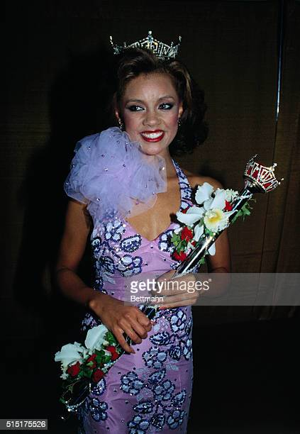 Atlantic City, New Jersey: Miss America 1984, Vanessa Williams of New York, is all smiles as she poses for photographs after becoming the 63rd Miss...