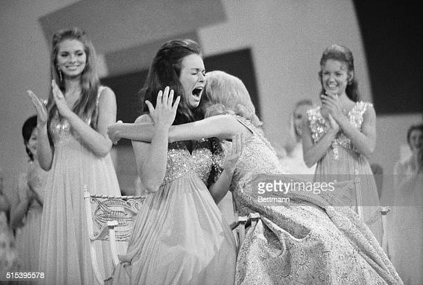Atlantic City New Jersey Newlycrowned Miss America Phyllis George reacts to the announcement of her title