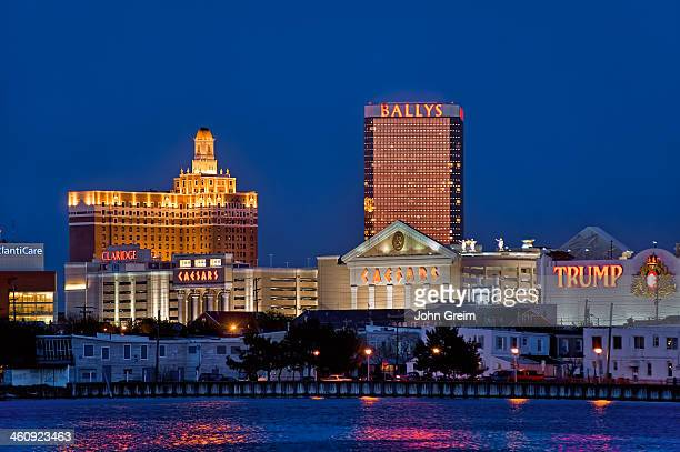 Atlantic City skyline at night.