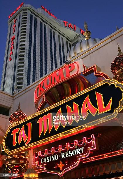 The Trump Taj Mahal Hotel and Casino in Atlantic City New Jersey is pictured 24 May 2007 Opened in 1990 the hotel includes 1250 guest rooms Gambling...