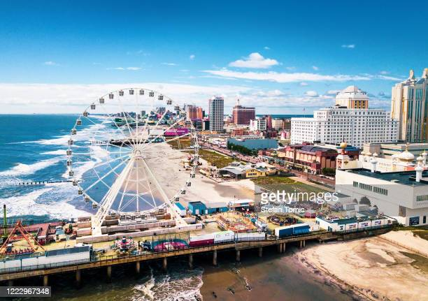 atlantic city waterline aerial view. ac is a tourist city in new jersey - new jersey stock pictures, royalty-free photos & images