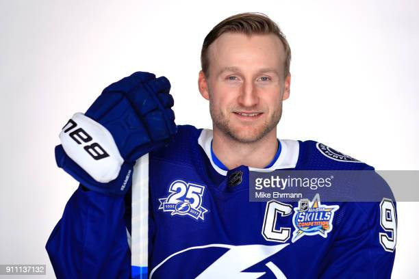 Atlantic Division Captain Steven Stamkos of the Tampa Bay Lightning poses for a portrait during the 2018 NHL AllStar at Amalie Arena on January 27...