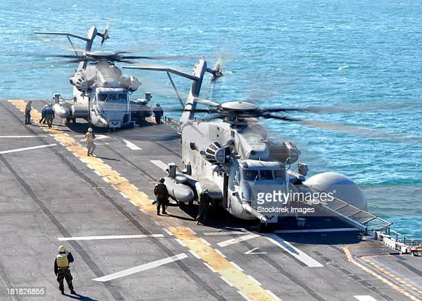 Atlantic Ocean, December 1, 2011 - A CH-53E Super Stallion helicopter takes off from the multi-purpose amphibious assault ship USS Iwo Jima.
