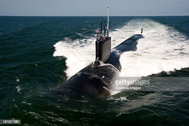 atlantic ocean, june 30, 2011 - the virginia-class attack submarine uss california (ssn 781) underway during sea trials.   - submarine stock photos and pictures