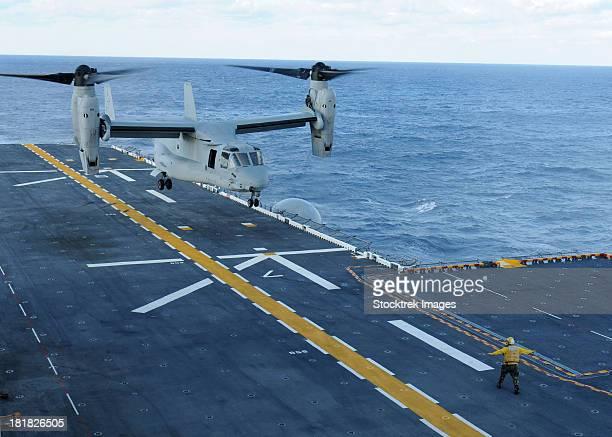 Atlantic Ocean, October 5, 2011 - An MV-22 Osprey lands aboard the multi-purpose amphibious assault ship USS Iwo Jima.