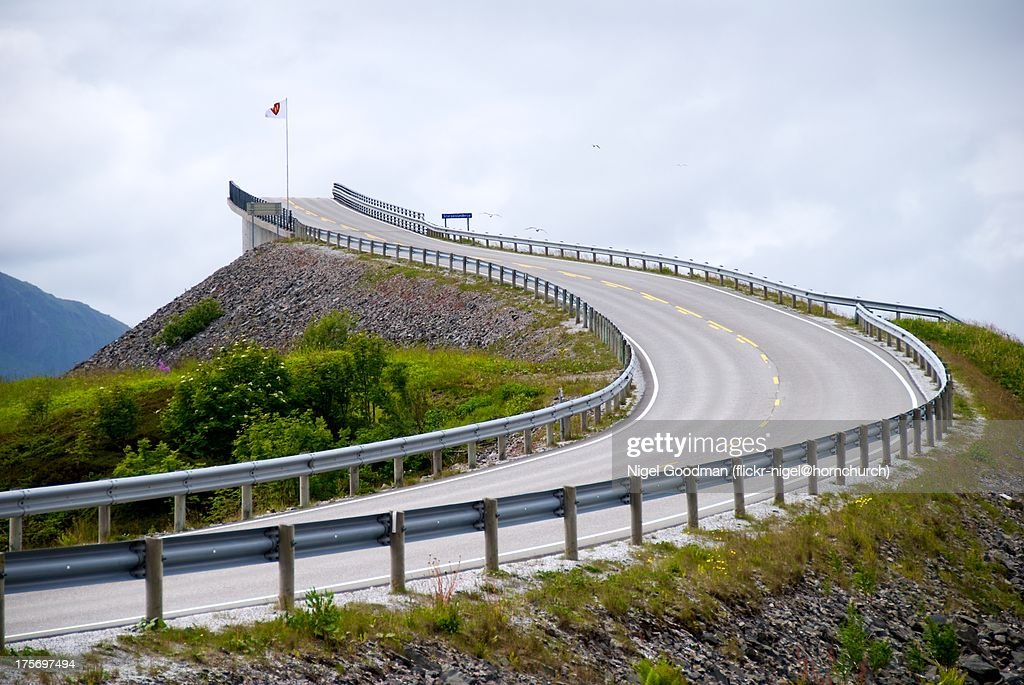 Atlantic Ocean Road Storseisundbrua Bridge Norway : Stock Photo