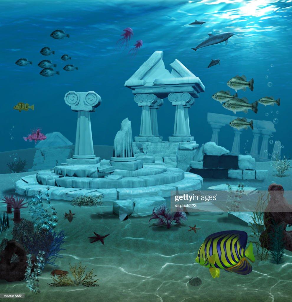 Atlantis Ruins Underwater : Stock Photo