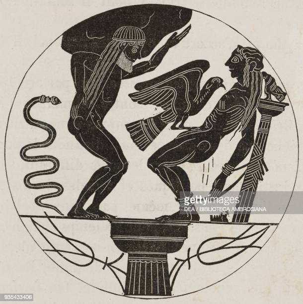 Atlas bears the weight of the sky while an eagle tears at the liver of Prometheus vase painting of the sixth century BC illustration from Histoire...