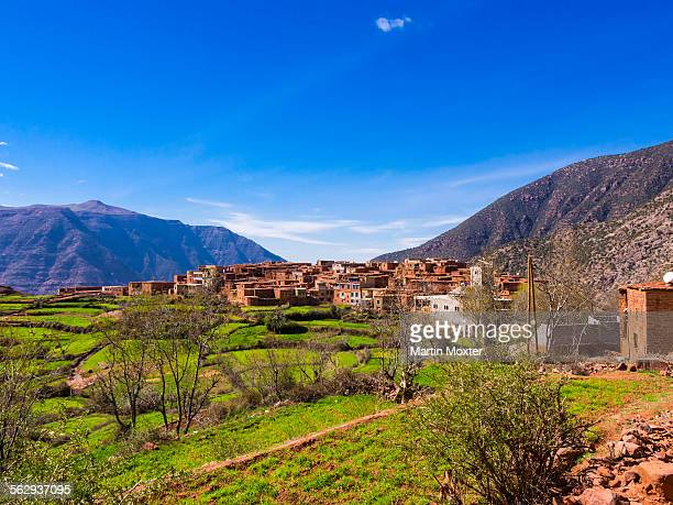 Atlas Mountains, mud-brick village of Anammer at the back, Ourika Valley, Marrakech-Tensift-Al Haouz, Morocco