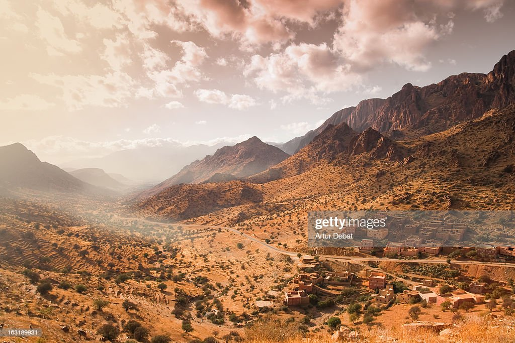 Atlas mountains with town in Morocco. : Stock Photo