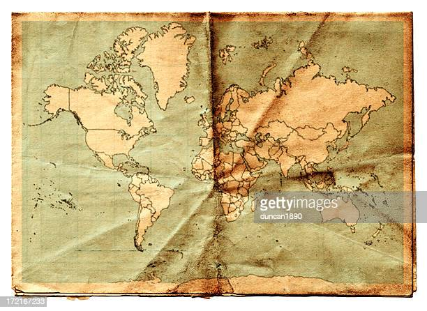atlas - vintage world map stock photos and pictures