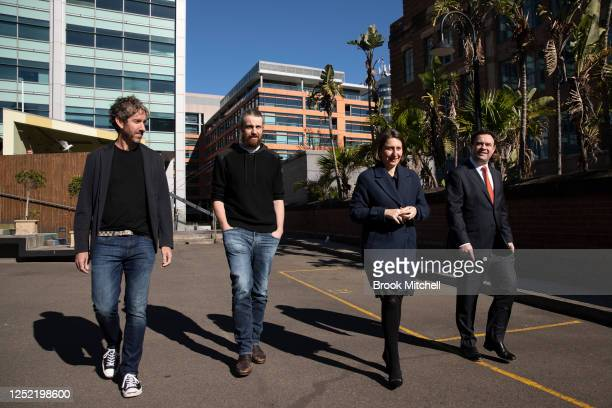 Atlassin cofounders Scott Farquhar Mike CannonBrookes NSW Premier GladysBerejiklian and Minister Stuart Ayres arrive for the announcement of a new...