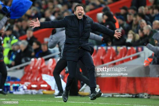 Atletico coach Diego Simeone celebrates their 2nd goal during the UEFA Champions League round of 16 second leg match between Liverpool FC and...