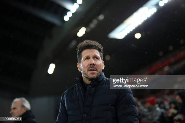 Atletico coach Diego Simeone during the UEFA Champions League round of 16 second leg match between Liverpool FC and Atletico Madrid at Anfield on...