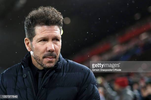 Atletico coach Diego Simeone looks on during the UEFA Champions League round of 16 second leg match between Liverpool FC and Atletico Madrid at...
