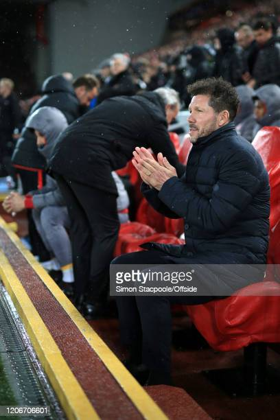 Atletico coach Diego Simeone rubs his hands together before the UEFA Champions League round of 16 second leg match between Liverpool FC and Atletico...