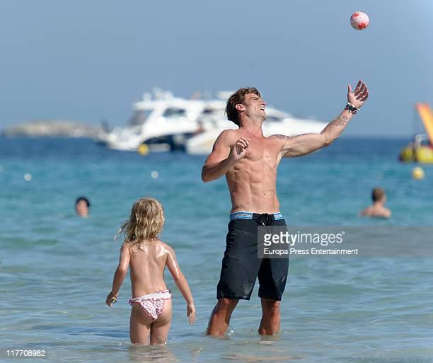 Atletico de Bilbao football player Aitor Ocio and his daughter Naia sighting on June 29 2011 in Ibiza Spain