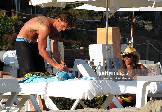 Atletico de Bilbao football player Aitor Ocio and his girlfriend Barbara sighting on June 29 2011 in Ibiza Spain