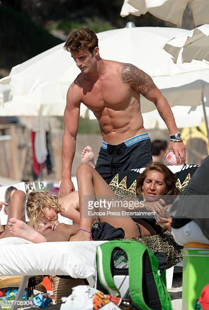 Atletico de Bilbao football player Aitor Ocio his girlfriend Barbara and his daughter Naia sighting on June 29 2011 in Ibiza Spain