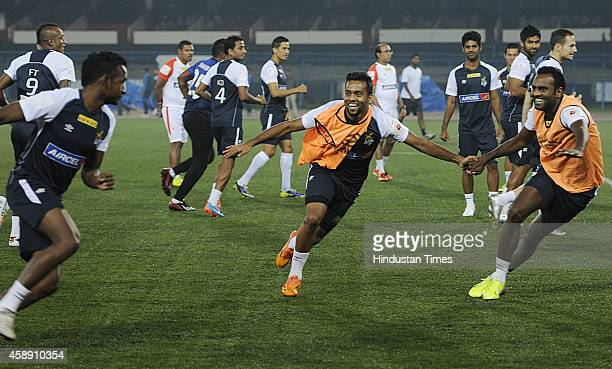 Atletico de Kolkata players during their practice session ahead of their match against visiting team Chennaiyin FC at Salt Lake Stadium on November...